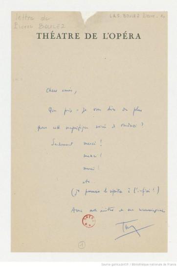 Boulez lettre orch opéra Gallica