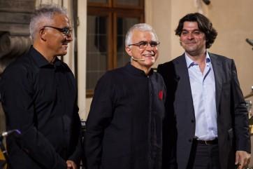 Fabio Battistelli (clarinettiste de l'Ensemble Suono Giallo), Sandro Cappelletto et Pierre Thilloy ©Monica Ramaccioni.