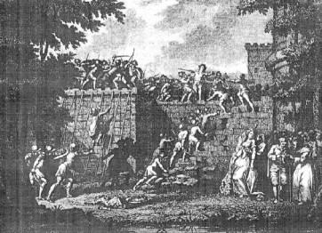 Richard Cœur de Lion, assaut donné par les troupes de Marguerite à l'acte III. Gravure de Claude Bornet (1786). Bibliothèque nationale de France, département Musique.