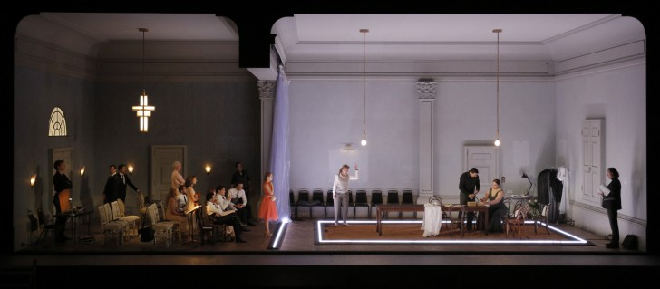 ARIADNE AUF NAXOS (ARIANE A NAXOS) de Richard Strauss, mise en scene de Katie Mitchell, direction musicale Marc Albrecht au Theatrte de l'archeveche du 4 au 16 juillet 2018 dans le cadre du Festival International d'art lyrique d'Aix en provence avec l'orchestre de Paris. Avec: Lise Davidsen (Ariadne), Eric Cutler ( Bacchus), Sabine Devieilhe (Zerbinetta), Angela Brower (Der Komponist), Huw Montague Rendall (Harlekin), Jonathan Abernethy (Brighella), Emilio Pons (Scaramuccio), David Shipley (Truffaldin), Beate Mordal (Najade), Andrea Hil (Dryade), Elena Galitskaya (Echo), Josef Wagner (Ein Musiklehrer), Rupert Charlesworth ( Ein Tanzmeister), Petter Moen (Ein Offizier), Jean-Gabriel Saint Martin(Ein Perückenmacher), Maik Solbach ( Der Haushofmeister), Sara Vemie (Ein Lakei). (photo by Pascal Victor/ArtComPress)