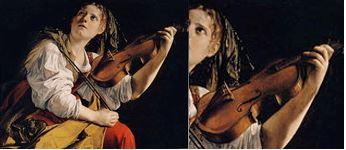 Orazio Gentileschi : jeune femme jouant du violon, Santa Cecilia (1612)