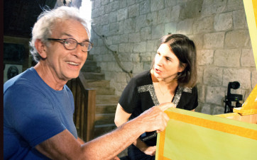 Avec Violaine Cochard au château d'Amples lors du projet Scarlatti 555