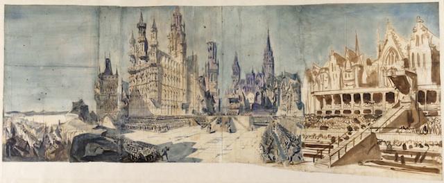 Esquisse de décor pour La Juive de Fromental Halévy, acte V, 1835 (c) BnF